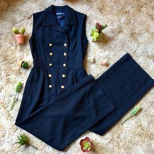 {Vintage Escada} Gold Button Dressy Black Jumpsuit
